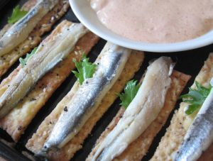 Turkish Crackers with Anchovies and Tarator Sauce