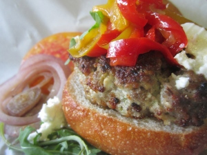 Lamb and Feta Burger with Pepper Relish