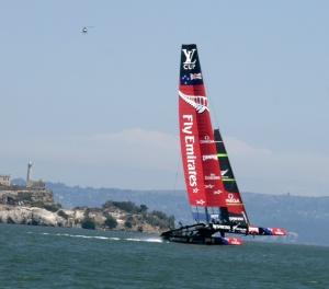 "New Zealand achieves ""flight"" in front of Alcatraz"