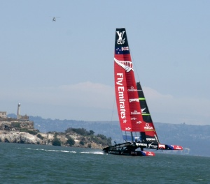 "New Zealand achieves ""flight"" in front of Alcatraz"