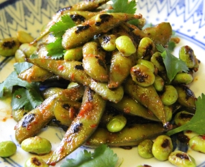 Edamame with miso and chili