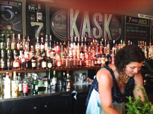 Kask and bartender Erin in Portland cocktails