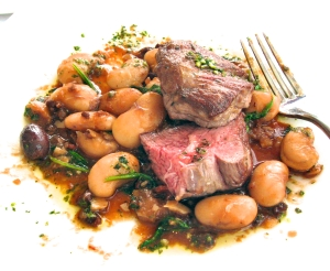 Lamb Sirloin with Olives and Gigante Beans at Sutro's